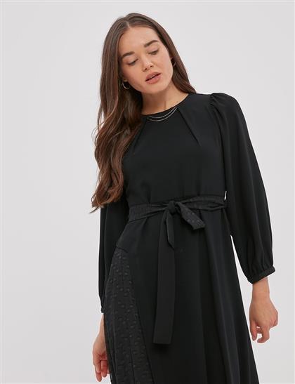 Kuşaklı, Balon Kol Elbise Siyah A20 23120