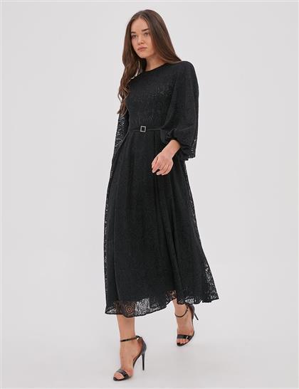 Güpürlü Balon Kol Elbise Siyah A20 23122