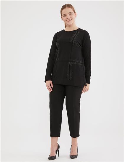 Taş Süslemeli Triko Bluz Siyah A20 TRK03
