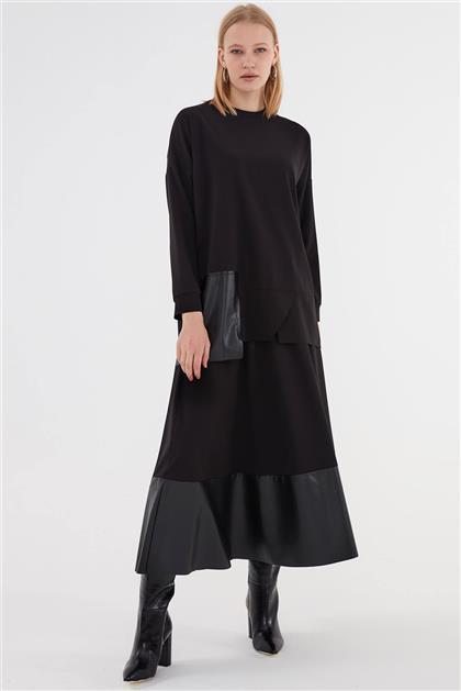 Suni Deri Garnili Kadın Takım Siyah V20KTKM43009