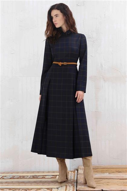 Cep ve Kemer Detaylı Ekose Kadın Elbise Lacivert V20KELB17053