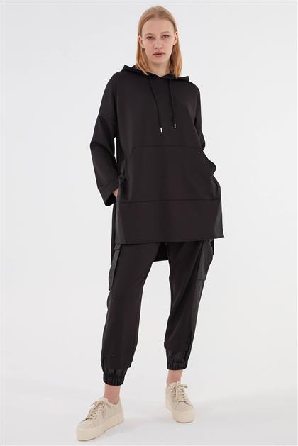 Kapşonlu Rahat Form Kadın Takım Siyah V20KTKM43011