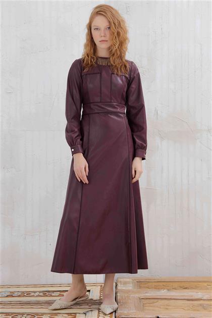 Suni Deri Kadın Elbise Mürdüm V20KELB17048