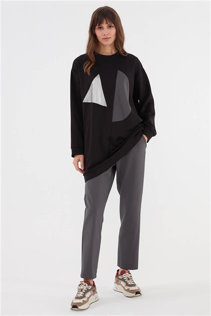 Geometrik Desenli Kadın Takım Siyah V20KTKM43012