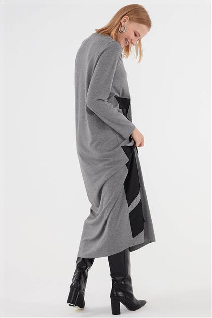 Deri Detaylı Kadın Triko Gri Elbise V20KELB17063