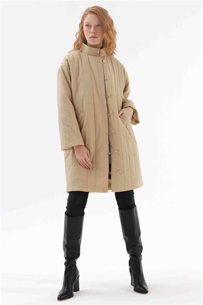 İçi Çıkarılabilir Kürklü Kadın Şişme Mont Camel V20KKPM27030