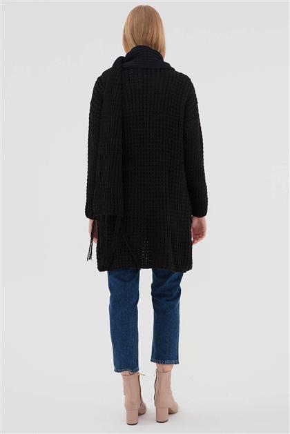Atkılı Kadın Triko Hırka Siyah V20KHRK23001