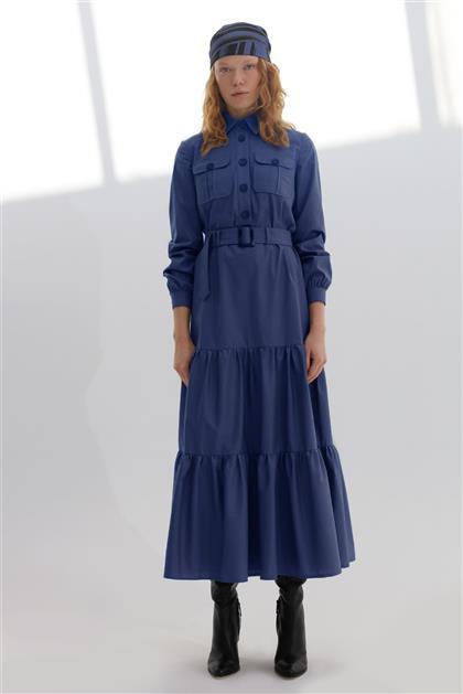 Önden Düğmeli Fırfır Detaylı Poplin Kadın Elbise İndigo V20KELB17050