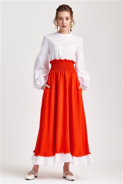 Poplin Bedenli Visolin Kırmızı Elbise V20YELB17048