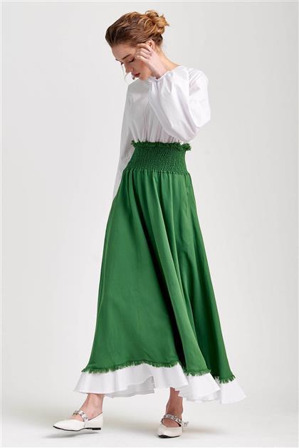 Poplin Bedenli Visolin Yeşil Elbise V20YELB17048