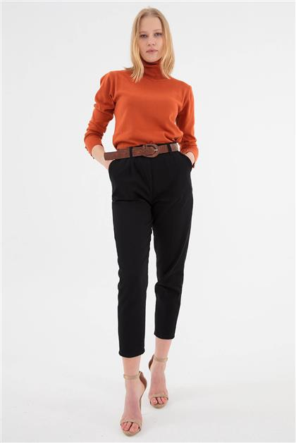 Deri Kemer Detaylı Beli Lastikli Pantolon Siyah V20KPNT35010