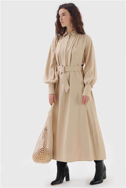Fermuar Detaylı Belden Bağlamalı Kadın Elbise Bej V20KELB17004