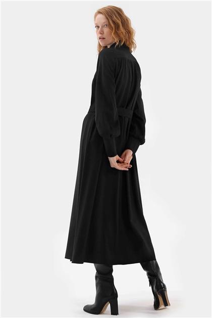 Fermuar Detaylı Belden Bağlamalı Kadın Elbise Siyah V20KELB17004