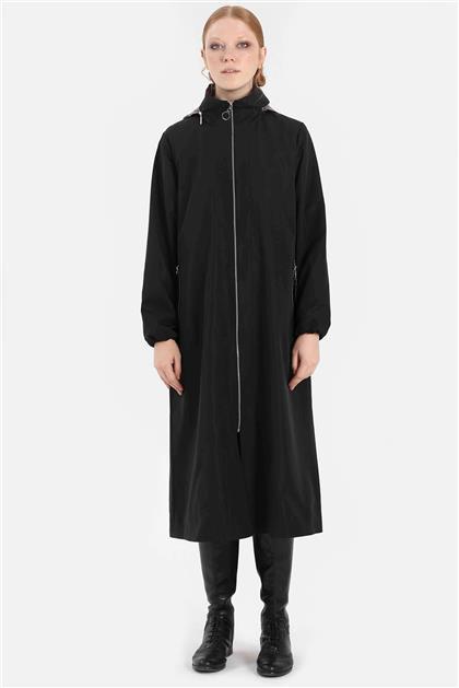Belden Büzmeli Gizlenebilir Şapkalı Kadın Yağmurluk Siyah V20KYGM46002