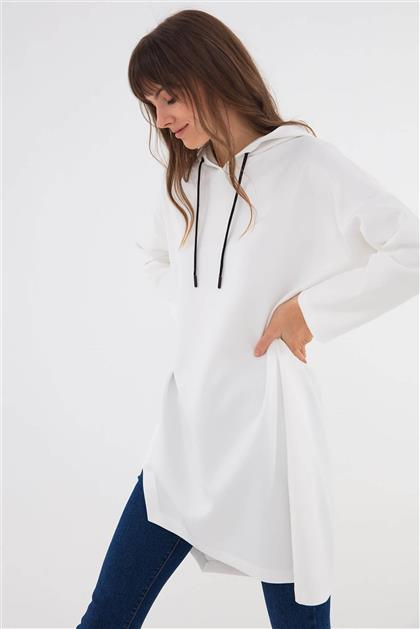 Spor Rahat Form Kapşonlu Tunik Beyaz V20KSWS41002