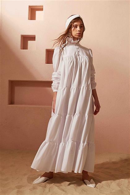 Büzgülü Poplin Beyaz Elbise V20YELB17056