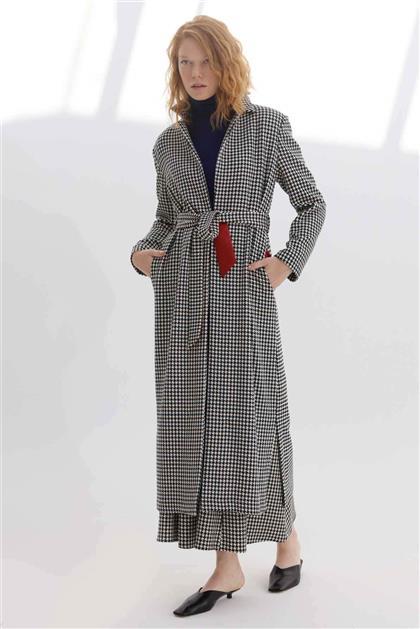 Belden Bağlamalı Kaz Ayağı Desenli Kadın Giy Çık Siyah V20KGCK21001