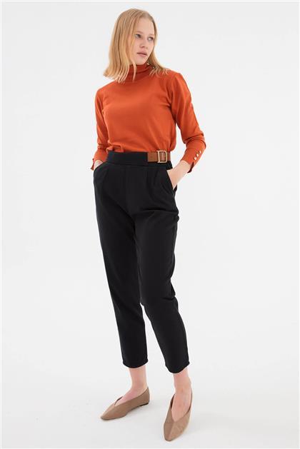 Beli Fermuarlı Kemer Detaylı Kadın Pantolon Siyah V20KPNT35011