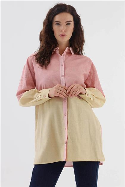 Renk Bloklu Kadın Gömlek Hardal Kiremit V20KGML22002