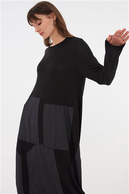 Deri Detaylı Kadın Triko Siyah Elbise V20KELB17063