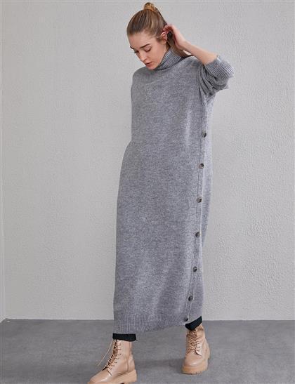 Yan Düğmeli Balıkçı Triko Elbise Gri A20 TRK08