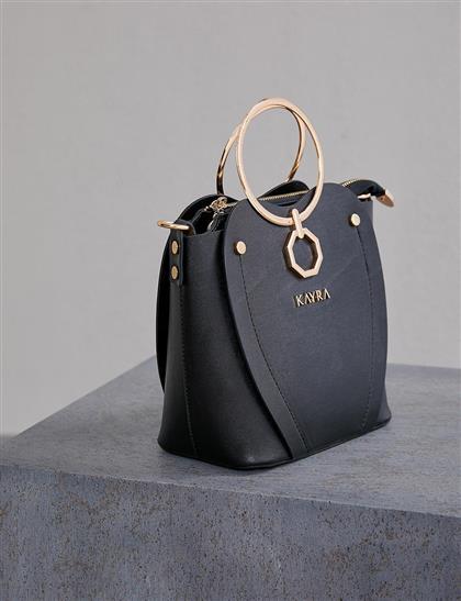Metal Saplı Çanta Siyah A20 CNT24