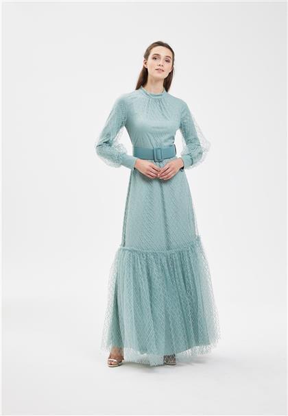 Clio Collection Simli Baklava Desenli Elbise Mint 20Y1616043 20Y1616043
