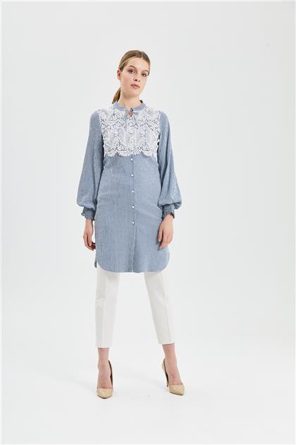 Clio Collection Dantel Kombinli Tunik Mavi 20Y1524056 20Y1524056