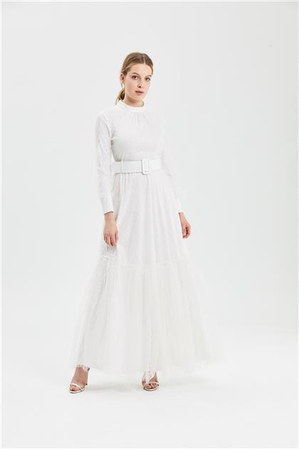Clio Collection Simli Baklava Desenli Elbise Beyaz 20Y1616001 20Y1616001
