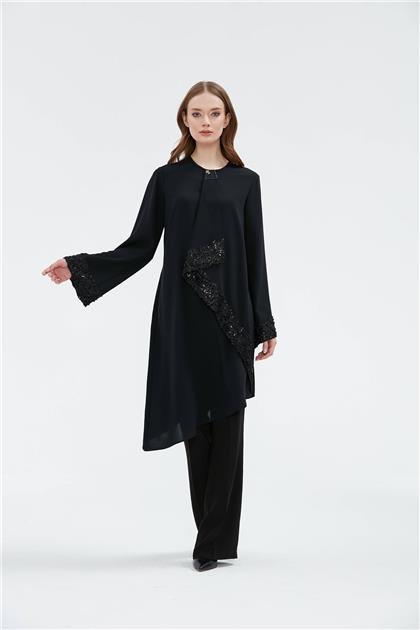 Clio Collection Dantel Kombinli Tunik Siyah 20Y1560002 20Y1560002