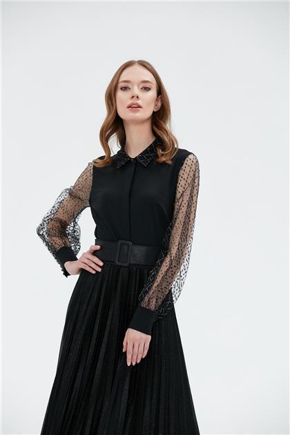 Clio Collection Simli Baklava Desen Kombinli Bluz Siyah 20Y1582002 20Y1582002