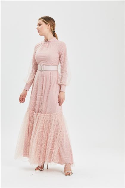 Clio Collection Simli Baklava Desenli Elbise Pudra 20Y1616032 20Y1616032