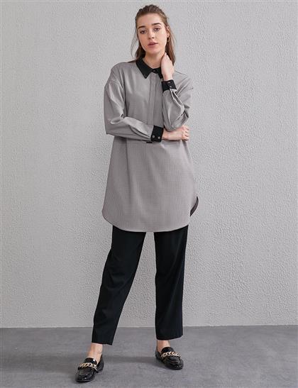 Mini Kaz Ayağı Desenli Tunik Bordo Siyah A20 21255