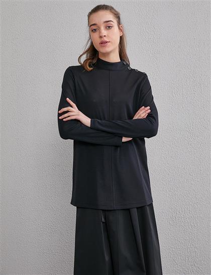 KYR Omzu Düğme Detaylı Bluz Siyah A20 70005A