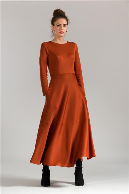 5085 - فستان أحمر قرميدي