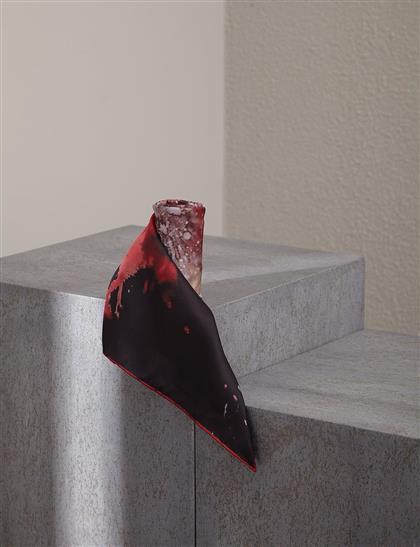 Soyut Desen PES Eşarp Kırmızı A20 ESP88