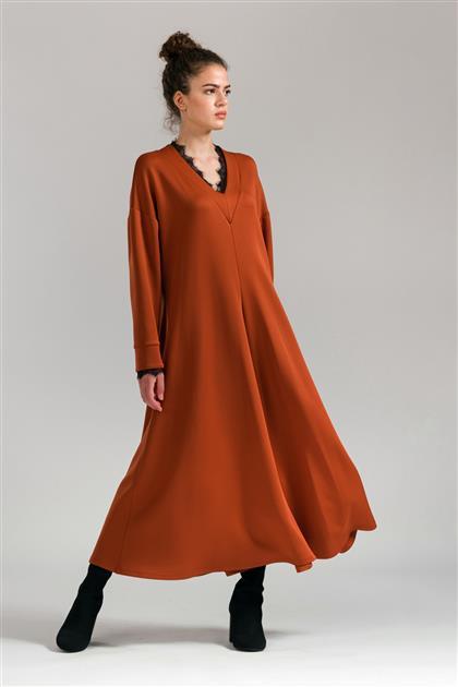 5078 - فستان أحمر قرميدي