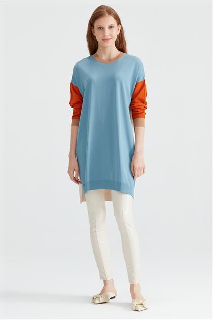 Renk Bloklu Düşük Kol Rayon Tunik 20920