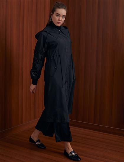 Pul Payetli Kapüşonlu Giy-Çık Siyah A20 25106