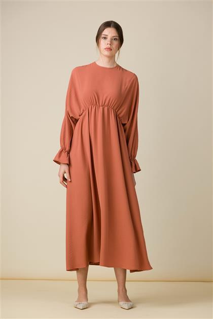 5057-Beli Lastik Dikişli Elbise Kiremit