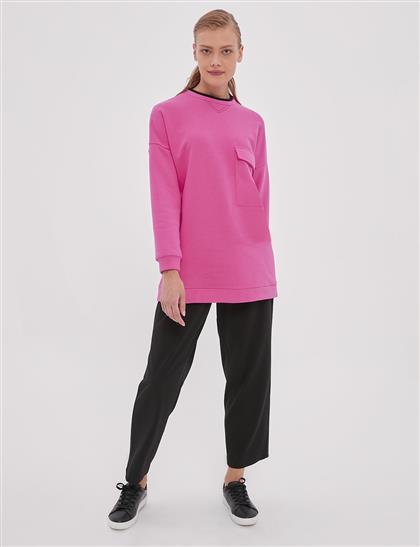 Cep Detaylı Sweatshirt Fuşya A20 21253