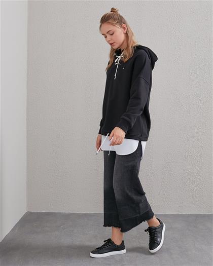 Bağcıklı Sweatshirt Siyah A20 31009