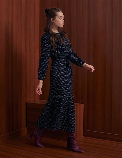 KYR Puantiyeli Uzun Elbise Siyah A20 83020