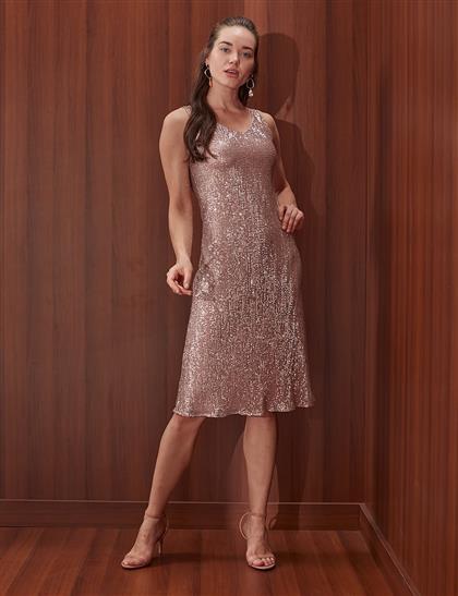 Pul Payetli Elbise Pudra B20 23062