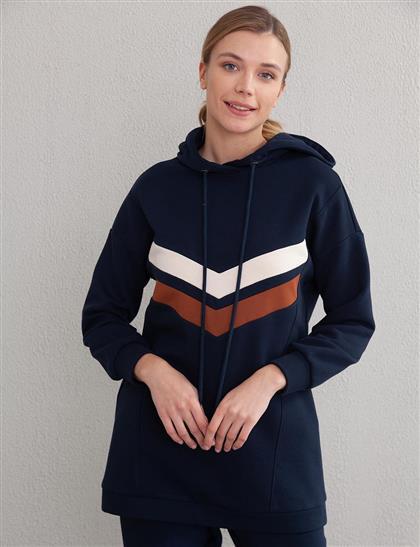 Şeritli Sweatshirt Lacivert A20 31010