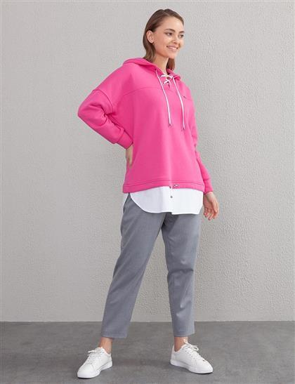 Bağcıklı Sweatshirt Fuşya A20 31009