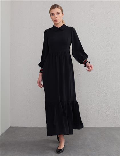 KYR Volanlı Uzun Elbise Siyah A20 83015
