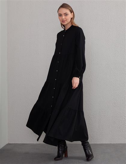 Gabardin Volanlı Elbise Siyah A20 23167