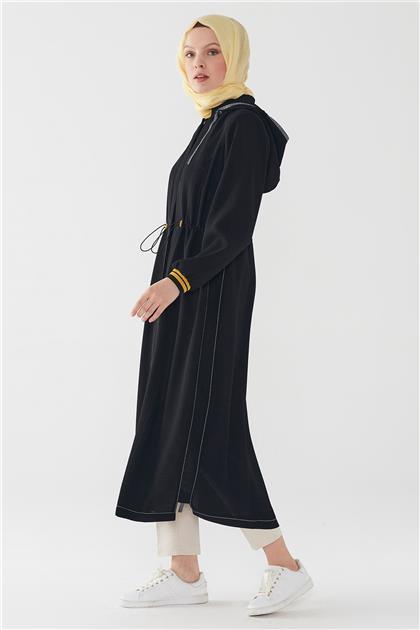 ZÜHRE Kapşonlu Gizli Pat Düğmeli Uzun Kap Siyah-Siyah 11252 Z20YB11252ZB102-R1230