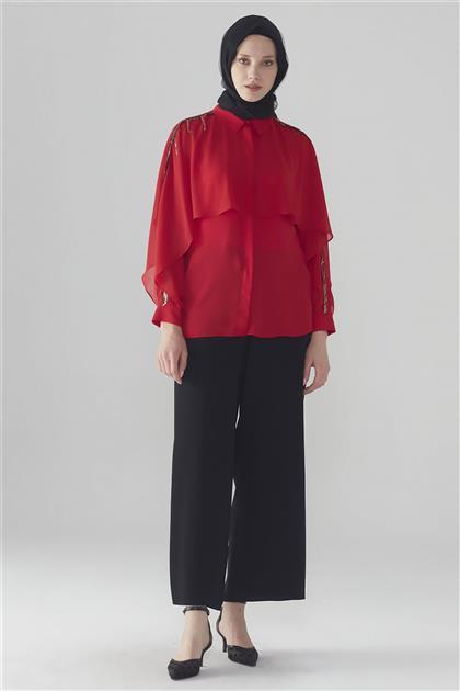 ZÜHRE Broş Detaylı Gömlek Kırmızı G-0031 Z20YB0031G10001-R1143